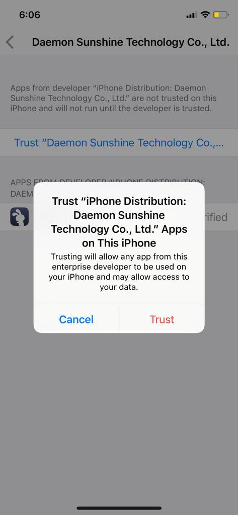 Cliquez sur Trust pour corriger l'erreur TuTuApp