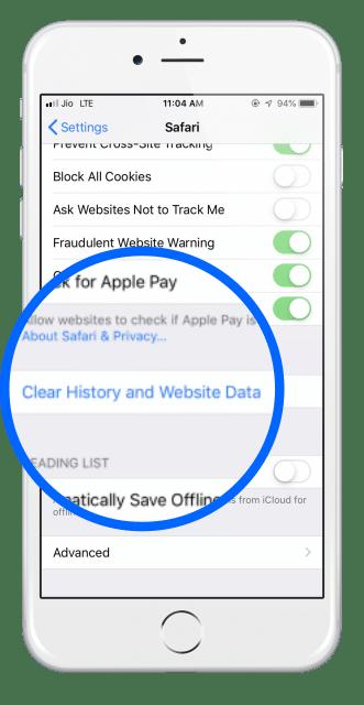 Safari un historique clair et des données sur les sites web