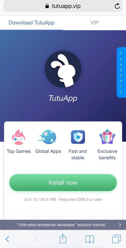 TuTuApp sur iOS
